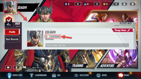 how to find marvel duel user id
