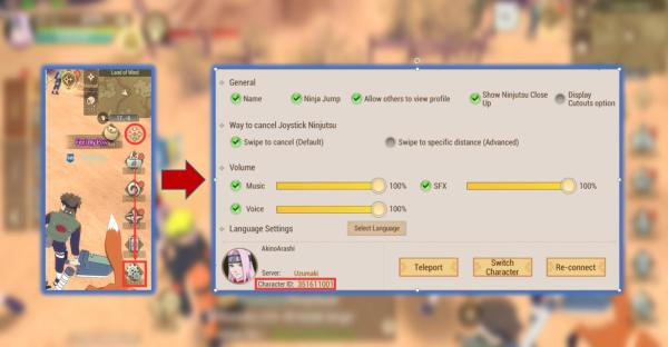 how to find naruto slugfest character id